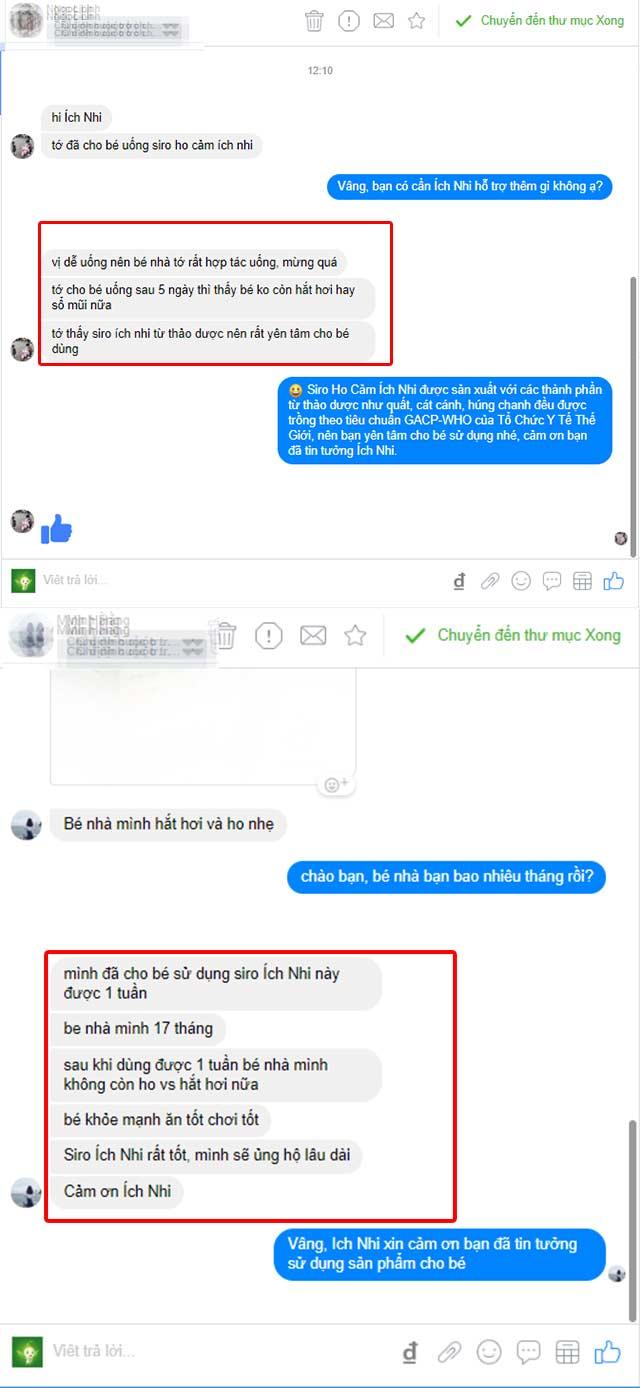 Review siro ho cảm Ích Nhi từ người dùng trên facebook